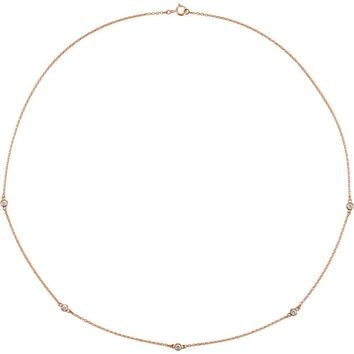 "14K Rose 1-4 CTW Diamond Bezel 18"" Necklace"