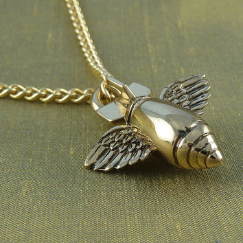 "Bomb Necklace Bronze Flying Bomb Pendant on 24"" Gold Plated Chain"