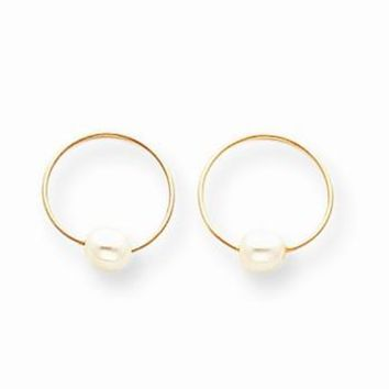 14k Yellow Gold Endless Hoop with Cultured Pearl Earrings