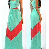 Sleeveless Sheath Striped Ruffled Maxi Dress