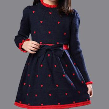 Girls Winter Cotton Turtleneck Princess Dress Long Sleeves Kids Clothing Red Blue