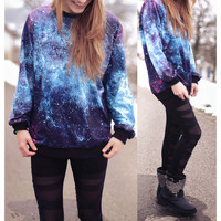 LOOSE GALAXY PRINTING SWEATER