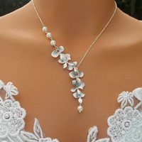 Orchid Necklace  Freshwater Pearl Necklace Orchid by LadyKJewelry