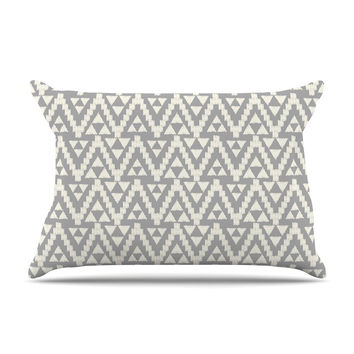 "Amanda Lane ""Geo Tribal Gray"" Grey Tribal Pillow Case"