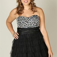 Plus Size Jeweled Strapless Short Homecoming Dress with Cupcake Skirt