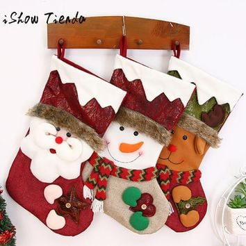 Merry Christmas Gifts Candy Beads Christmas Santa Claus Snowman Socks Decora o Christmas Decorations for Home