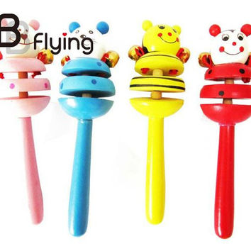 2016 Multicolor Babies Toys Wooden Baby Rattle Unisex Newborn Toys
