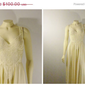 SALE Vintage Nightgown Olga RARE Off White Lace Bodice Satin Skirt Chiffon Back Nylon Gown Bridal  Modern sz Medium to Large