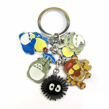 Anime Cartoon Miyazaki Hayao Totoro Metal Figure toys Keychains Pendants kawaii cute Key Chain ring kids toys gift