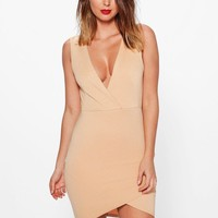 Carmen Wrap Over Detail Bodycon Dress | Boohoo