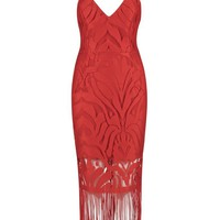 Honey Couture ANGIE Red Lace Tassel Tie Up Midi Bandage Dress