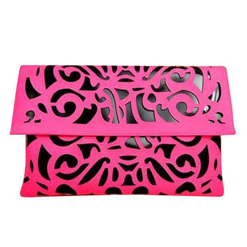 22Pink Cutout Candy Fluorescent Color  Day Clutches Envelope Evening Bag Retro
