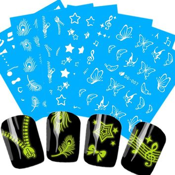1 Sheets Summer 2017 Nail Designs Noctilucence Bling-Bling Decals Nail Art Water Transfer Sticker Feather/Zipper/Butterfly #DG