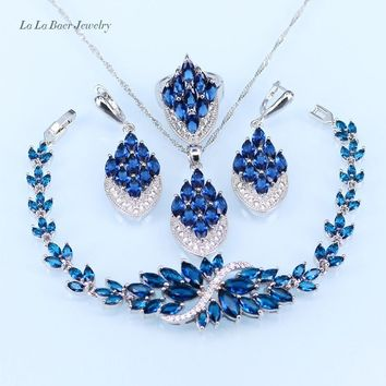 L&B New Blue crystal white zircon silver color Jewelry Sets Bracelet/Pendant/Earrings/Ring for Women with 925 stamp