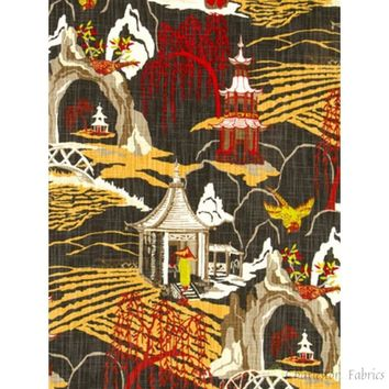 Robert Allen Neo Toile Red Lacquer Prints Fabric