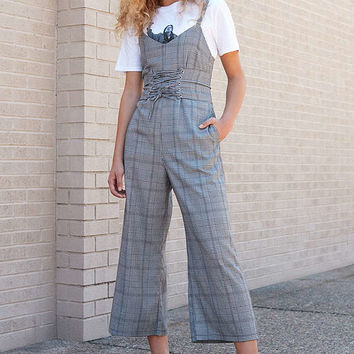 Silence + Noise Glenn Plaid Corset Jumpsuit | Urban Outfitters