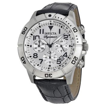 Invicta Signature II Chronograph Silver-tone Dial Black Leather Mens Watch 7283