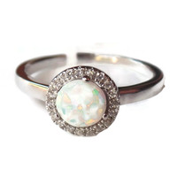 Sterling Silver Created White Opal CZ Halo Ring