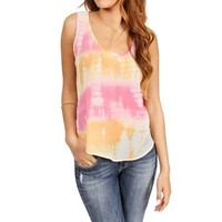 Pink/Orange Tie Dye Crochet Sleeveless Top