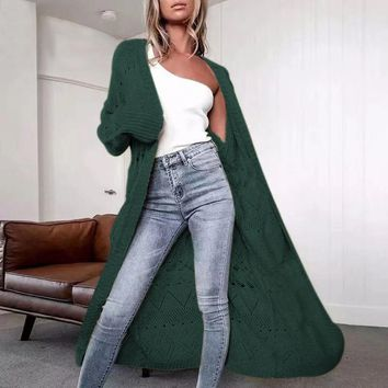 Autumn and winter solid color long sweater windbreaker ebay explosion cardigan sweater coat female