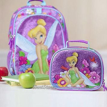 Licensed cool NEW Disney Store EXC.TINKERBELL TINKER BELL FAIRY Backpack Book Bag Lunch Tote