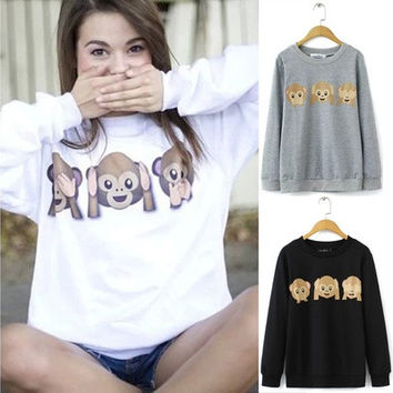 2015 autumn korean womens hoodies emoji print monkey pattern long sleeve o-neck hoodies sweatshirt [8045199943]