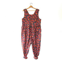 Vintage Floral Jumpsuit. Laura Ashley One Piece Romper. Wide Leg + Loose Fit Jumper.