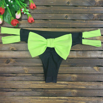 Green Bow Tie Strappy Bottom