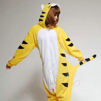 KIGURUMI Cosplay Romper Charactor animal Hooded PJS Pajamas Pyjamas Xmas gift  Adult  Costume sloth  outfit Sleepwear-tiger