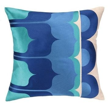 Delano Blue and Turquoise Throw Pillow