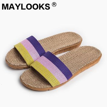 2017 New Sale Linen Slipper Summer Style Floor Breathable Indoor Slippers Women Shoes Flax Striped Bedroom Shoes 8821