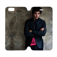 DAMON SALVATORE Vampire Diaries Wallet Case for iPhone 4/4S 5/5S/SE 5C 6/6S Plus Samsung Galaxy S4 S5 S6 Edge Note 3 4 5