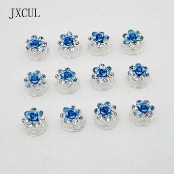 Bridal Wedding Prom Crystal Roses Flower Jewelry Swirl Spiral Twist Hairpins Tiara Ornaments  Accessories Factory direct sales