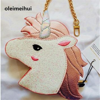 2017 personality Unicorn new brand Girl printing full of personality coins change purse Clutch zipper zero wallet key bags purse