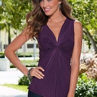 PURPLE Draped v neck top from VENUS