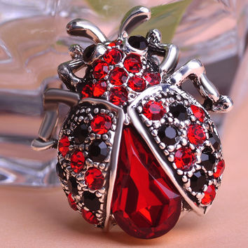 Vintage Jewelry Insects Beetles Corsages Ruby Antique Silver Crystal Ladybug Brooches Bouquet Brooch Pins For Women Girls Clips