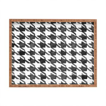 Social Proper Houndstooth BW Rectangular Tray