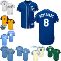Royal Blue white grey gold Mike Moustakas Authentic Jersey , Men's #8 Kansas City Royals Flexbase Collection
