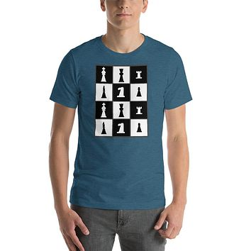 Chess Pieces Grid Short-Sleeve Unisex T-Shirt