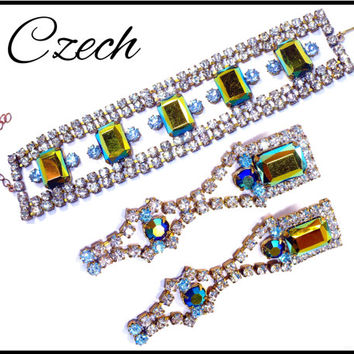 CZECH Metallic Green AB Rhinestone Bracelet Earrings, Aurora Borealis Light Blue & Clear Maid of Honor Rockabilly Pageant New Years Eve