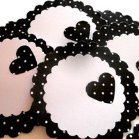 18 Adhesive Labels - 2in. Scallop Circle, Black / White Polka Dot, Heart Punched, Gift Tags, Baby Shower Favors, Jar Labels, Cupcake Toppers