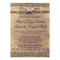Rustic Country Vintage Paper Burlap Wedding Invite