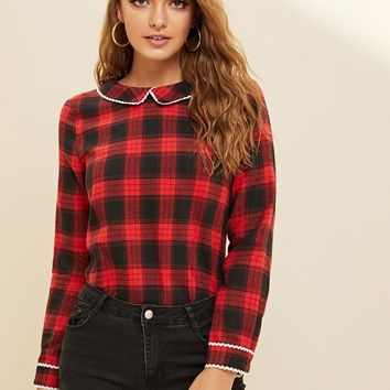 Lace Trim Peter Pan Collar Tied Back Plaid Blouse