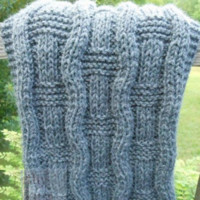 Oxford Grey Hand Knit Wavy Scarf