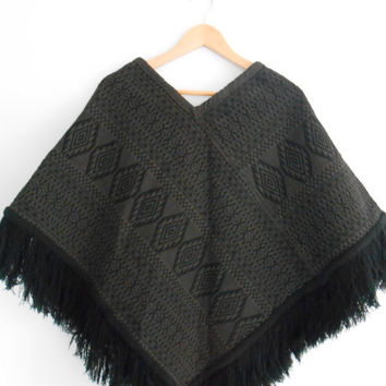 Vintage Cape Shawl Panco Navajo Black Fringe Jacket Outerwear Festival Hippie Gypsy FREE Shipping