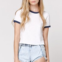 LA Hearts Ringer Top - Womens Tee - White