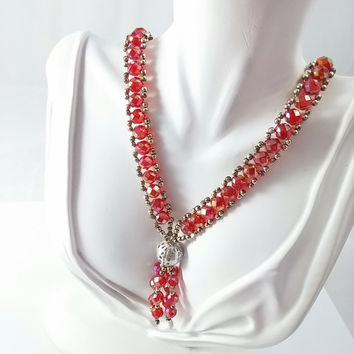 Vintage Necklace - Red Beaded Y Tassel Necklace