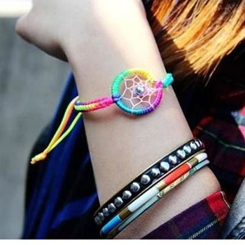 1PC Fashion Leather Cute Charm Campanula Dream Catcher Bracelet