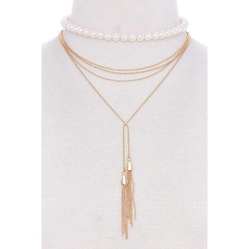 Fashion pearl and chain necklaces set Womens fashion jewelry