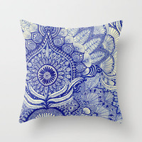 blue Throw Pillow by Yes Menu
